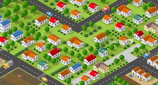 طرح گرافیکی وکتور سه بعدی شهر و ساختمان ، ماشین و چراغ قرمز و درخت