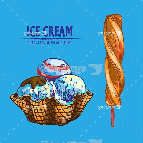 وکتور گرافیکی بستنی چوبی و لیوانی