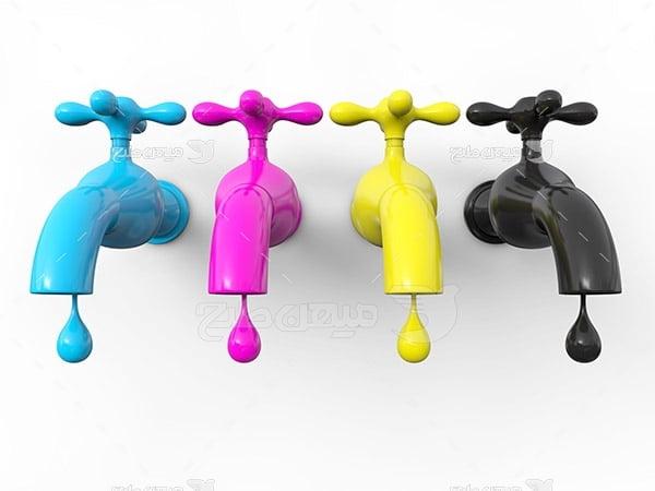 عکس نماد رنگ چاپ و تبلیغات به شکل قطره آب