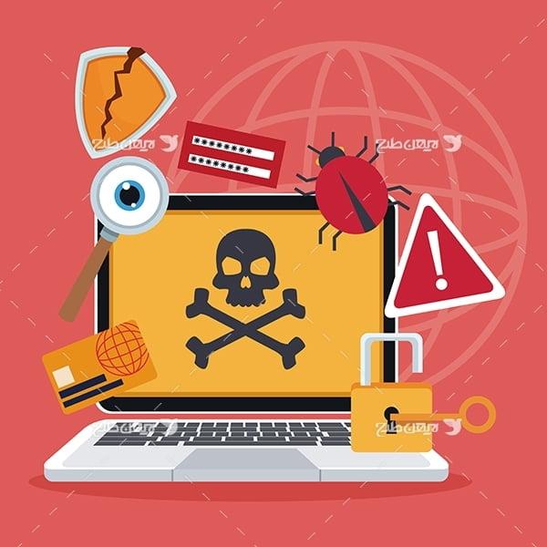 طرح وکتور گرافیکی با موضوع اینترنت و هک