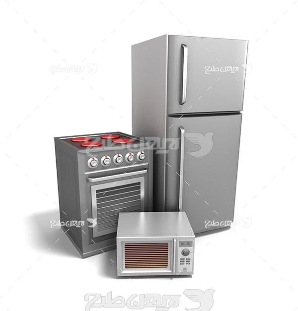 عکس با کیفیت از فر گاز ، یخچال و مایکروفر