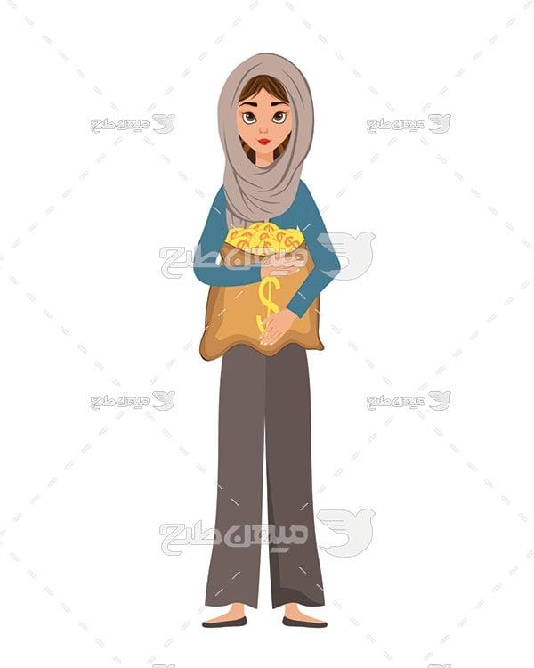وکتور کاراکتر زن با حجاب و سکه