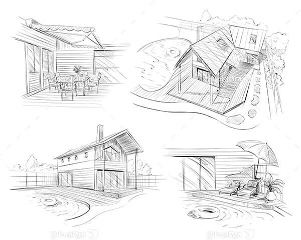 طرح گرافیکی وکتور اسکیج نقاشی ساختمان