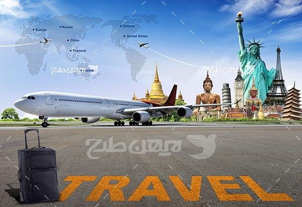تصویر مسافرت و گردشگری و هواپیما و مکان های دیدنی جهان