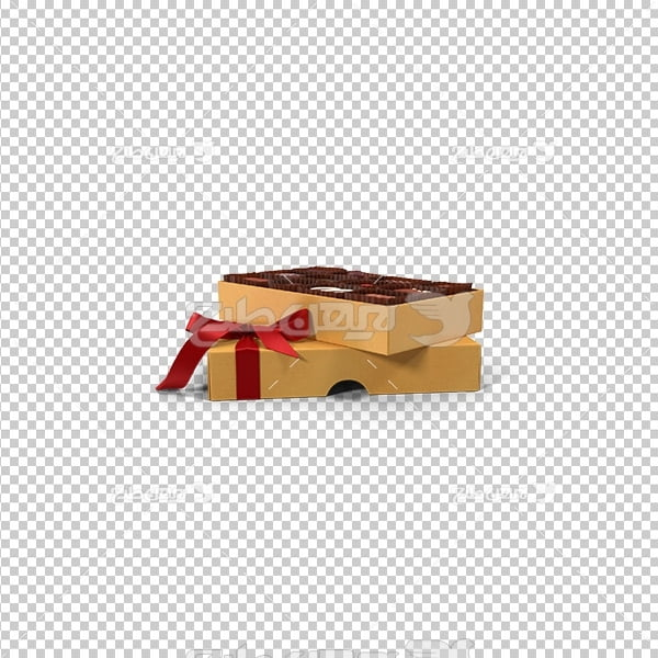تصویر دوربری سه بعدی جعبه شکلات