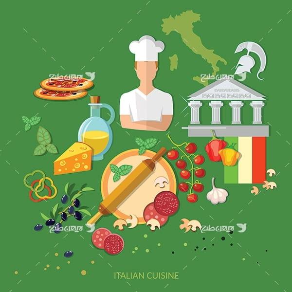 طرح وکتور گرافیکی آشپزی
