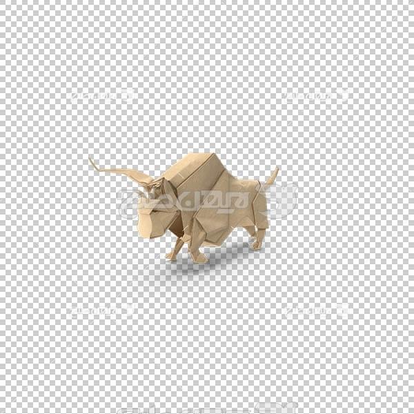تصویر سه بعدی دوربری اوریگامی گاو