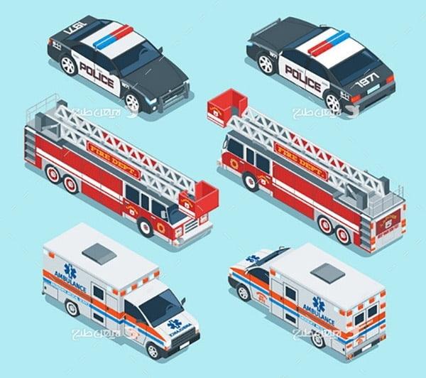 وکتور سه بعدی ماشین پلیس، ماشین آتش نشانی، ماشین اوراژانس