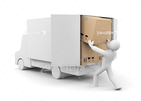 عکس کامیون جعبه و باربری و کارکتر