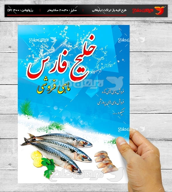 طرح لایه باز پوستر تبلیغاتی ماهی فروشی خلیج فارس