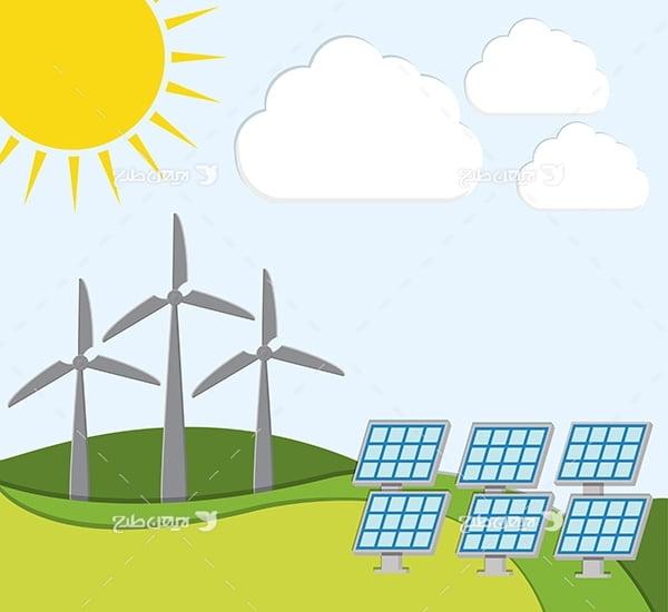 طرح وکتور پنل تولید برق خورشیدی