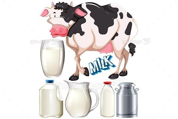 وکتور شیر لبنیات و گاو