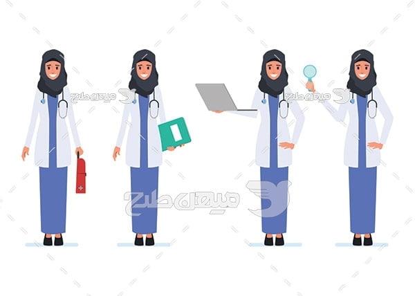 وکتور کاراکتر زن پزشک با حجاب