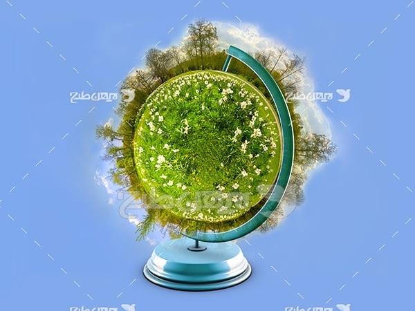 عکس کره زمین و درختان