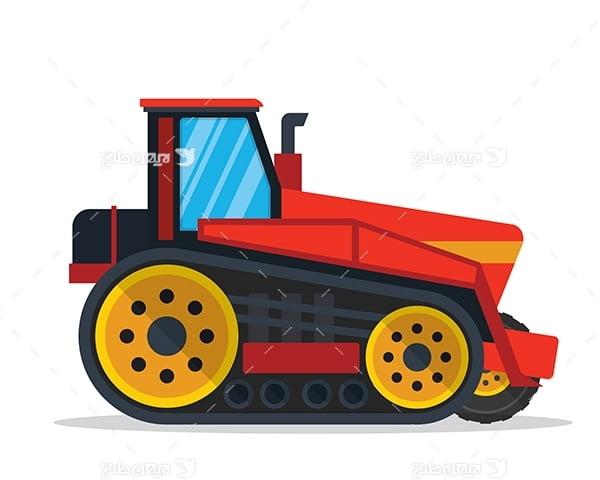 طرح گرافیکی وکتور ماشین صنعتی-کشاورزی