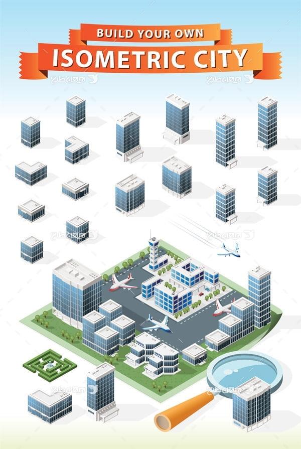 طرح گرافیکی وکتور سه بعدی ساختمان های چند طبقه