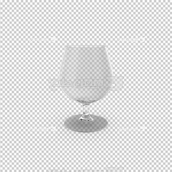 تصویر دوربری سه بعدی لیوان بلوری