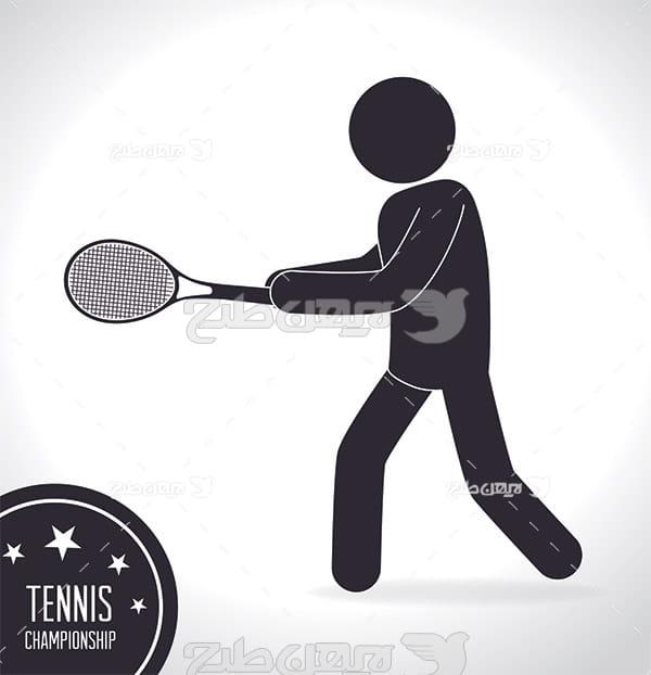 وکتور ورزش تنیس