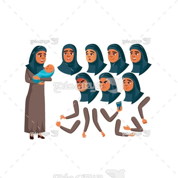 وکتور کاراکتر زن با حجاب و نوزاد