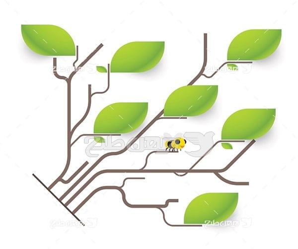 وکتور برگ درخت و زنبور