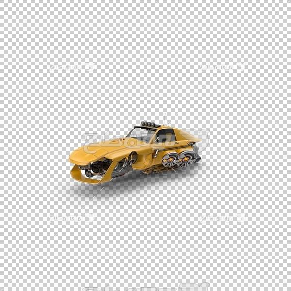 تصویر سه بعدی دوربری ماشین زرد رنگ