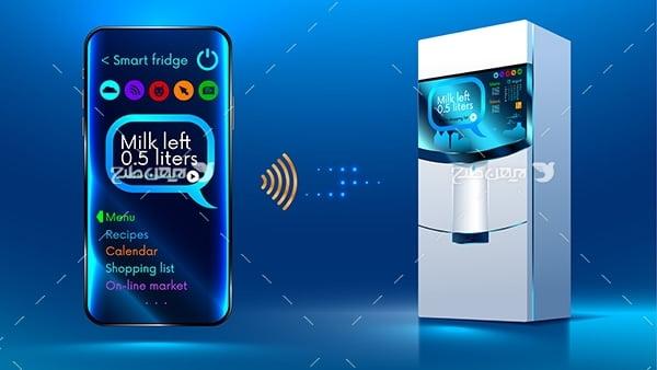 طرح وکتور گرافیکی با موضوع یخچال هوشمند وایرلس