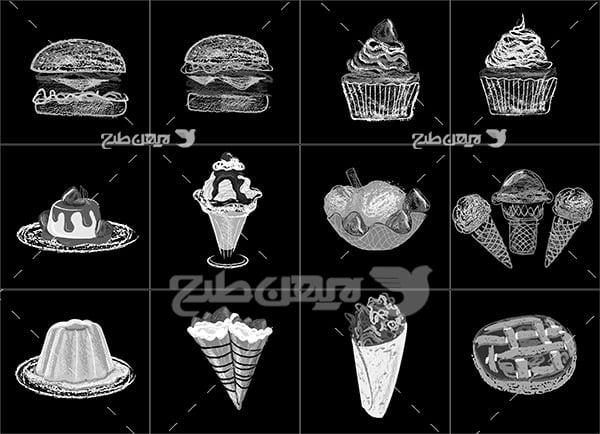 وکتور لوگو و آیکن شیرینی و بستنی و فست فود