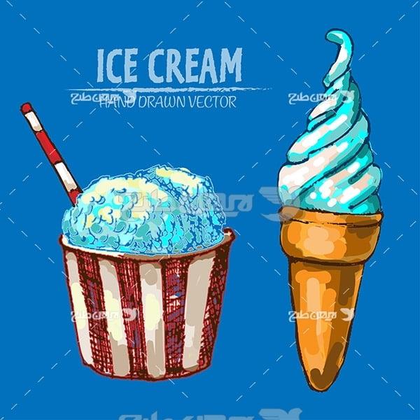 وکتور گرافیکی بستنی قیفی و لیوانی
