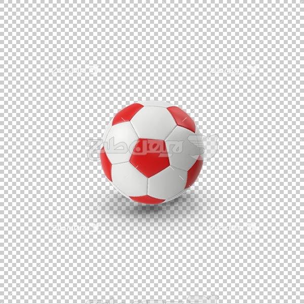 تصویر سه بعدی دوربری توپ فوتبال سفیبد و قرمز