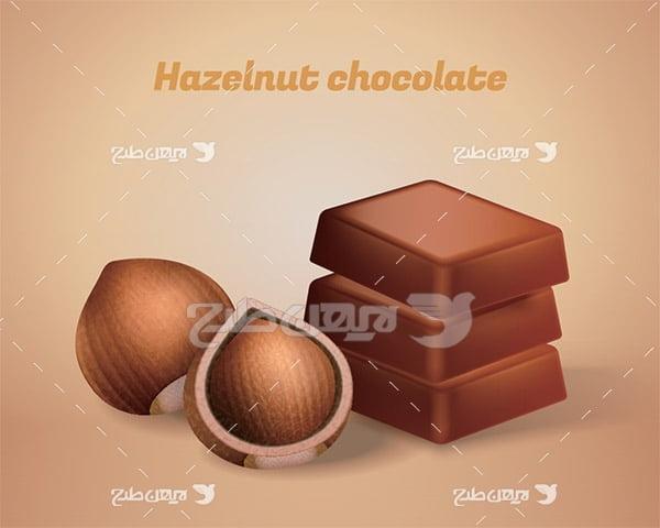 وکتور شکلات و فندق