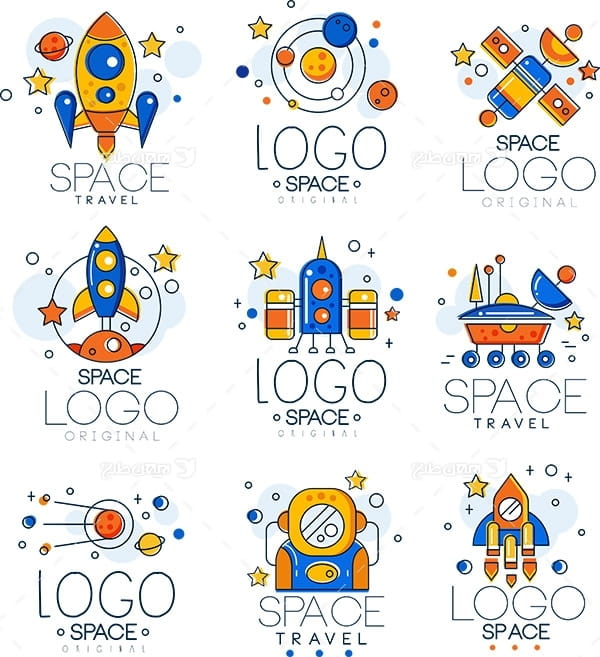 وکتور لوگو و آیکن فضا و فضا نورد و سفینه فضایی
