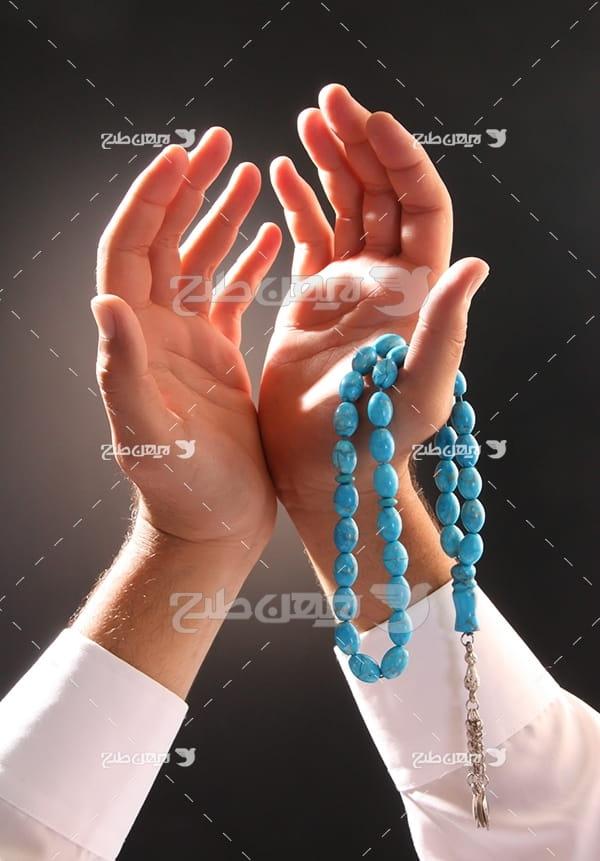 عکس مذهبی دعا و نیایش و تسبیح
