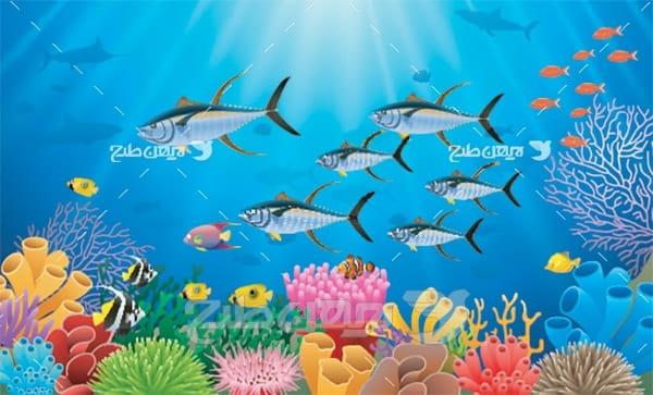 وکتور ماهی و دریا