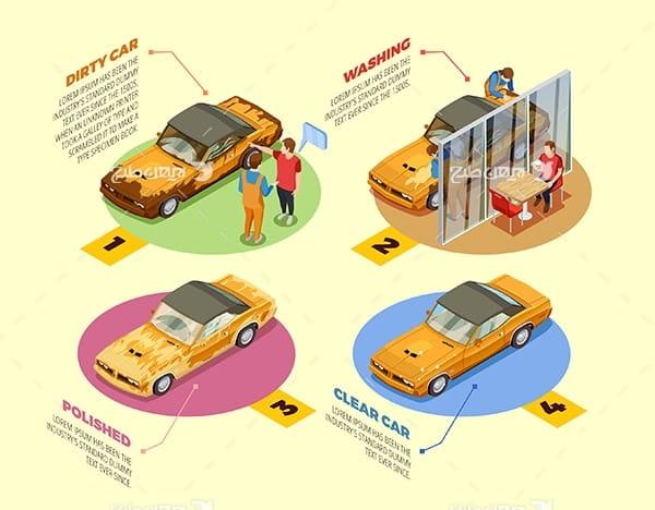 طرح وکتور سه بعدی ماشین یا خودرو با نفر