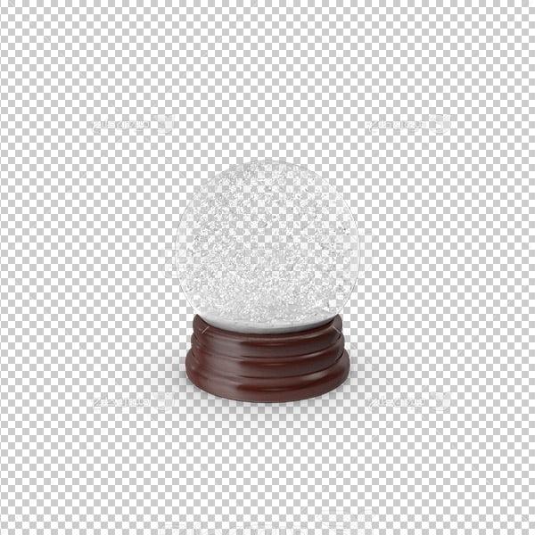 عکس برش خورده سه بعدی گوی شیشه ای برف