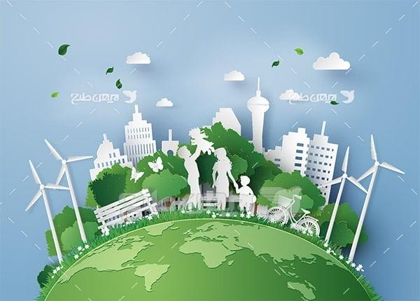 وکتور محیط زیست و محیط سبز در شهر و خانه ساختمان