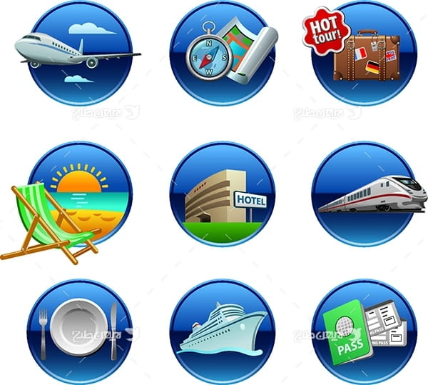 طرح آیکن و وکتور گرافیکی با موضوع سفر و مسافرت