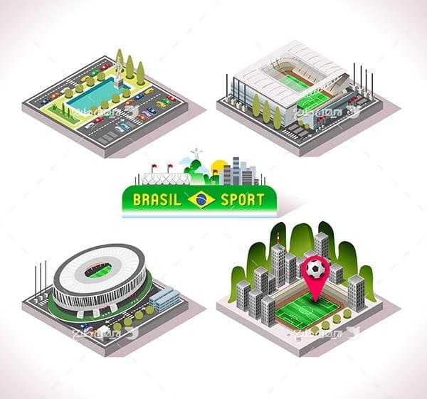 طرح گرافیکی وکتور سه بعدی ورزشگاه فوتبال