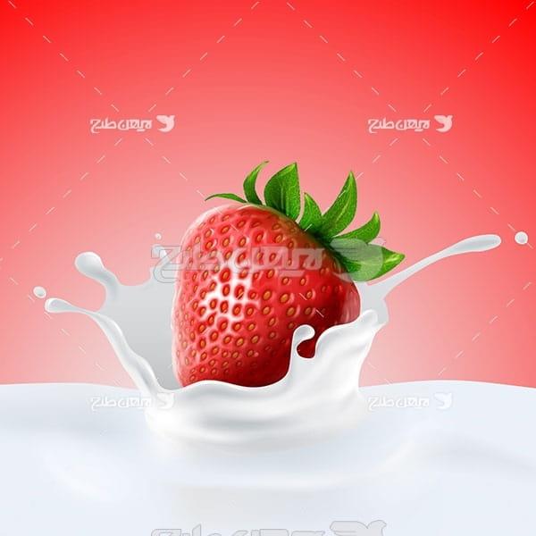وکتور شیر و توت فرنگی
