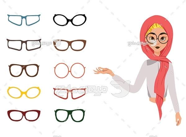 وکتور کاراکتر زن با حجاب و عینک