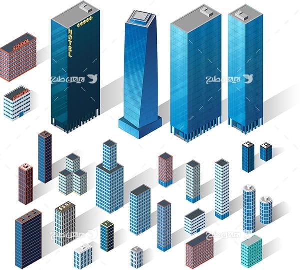 طرح گرافیکی وکتور ساختمان سه بعدی