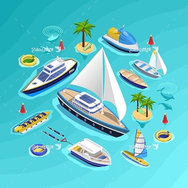 طرح وکتور گرافیکی با موضوع مسافرت، جزیزه و قایق های تفریحی