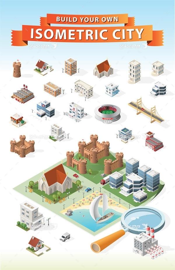 طرح گرافیکی وکتور سه بعدی ساختمان، شهر، پل، ورزشگاه