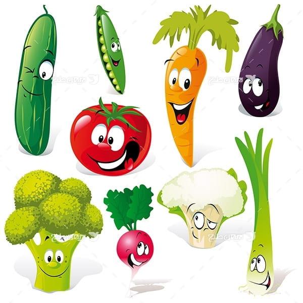 طرح وکتور کارکتر سبزیجات