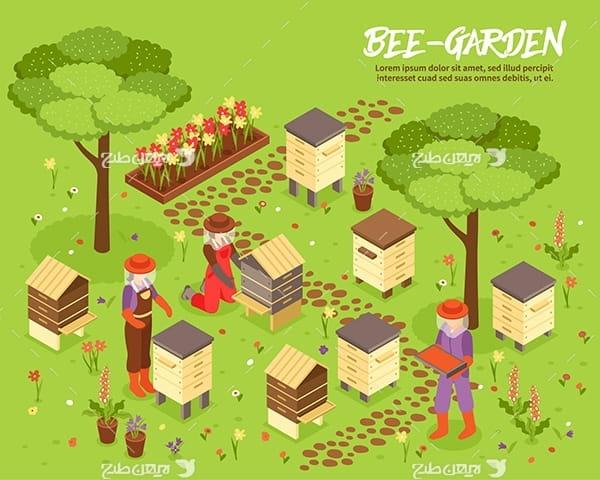 طرح وکتور سه بعدی باغ و باغدار