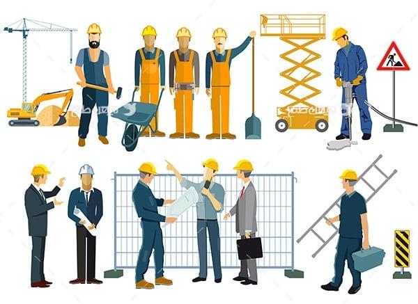 طرح وکتور کاراکتر مهندس و کارگر ساختمان