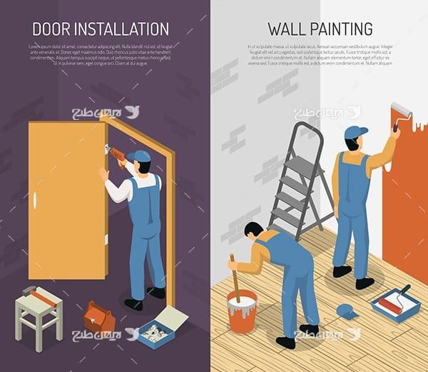طرح وکتور سه بعدی فرد نقاش و رنگ زنی و تعمیرات درب اتاق