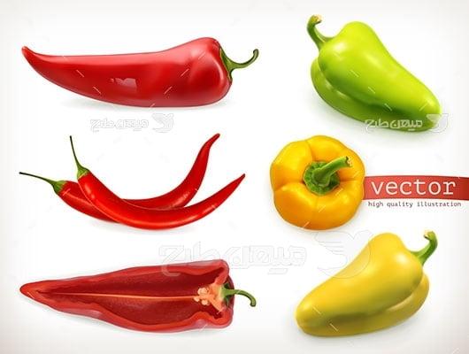 وکتور کاراکتر سبزیجات فلفل