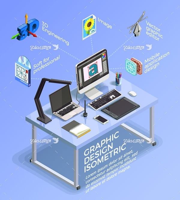 وکتور اینفوگرافیک کامپیوتر