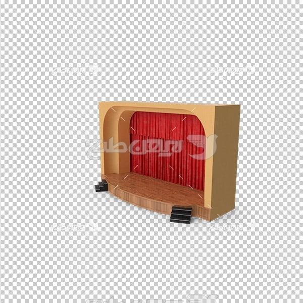 تصویر دوربری سه بعدی پرده قرمز صحنه نمایش